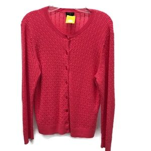 Talbots watermelon pink cable-knit cardigan